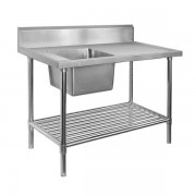 Stainless Steel Sink Bench 1500 W x 600 D with Single Left Bowl and 150mm Splashback