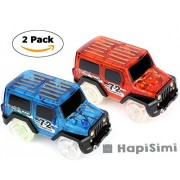 Track Car, Light Up Jeep Toy Car (2-Pack), Multi-color Flashing Light Glow in the Dark Racing Track Accessories Compatible with Most Tracks Including Neo & Magic Track, Boys and Girls (Blue and Red)