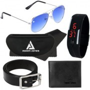 Adam Jones Gradient Blue UV Protected Unisex Aviator Sunglasses with free Silicone digital LED band watch+Wallet+Belt