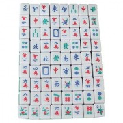 Mini 144 Mahjong Tile Set Travel Board Game Chinese Traditional Mahjong Games Portable Size and Light-weight