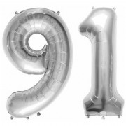 De-Ultimate Solid Silver Color 2 Digit Number (91) 3d Foil Balloon for Birthday Celebration Anniversary Parties