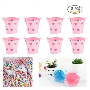 Dproptel Mulit-Functional Mini Metal Buckets - Candy Box, Candle Holders, Wedding Party Favour Gift / Serving Bucket, Chip Christmas Decoration (Pink)