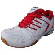 Port Men's Endeavor White Red Pu Badminton shoes