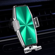 USAMS US-CD134 Metal Induction 15W Auto Retractable Clip Wireless Charging Car Bracket (Air Outlet Version) - Green/Silver