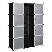 [neu.haus]® Подвижен гардероб с 8 отделения 145 x 110 cm, с място за закачалки, Черен/Бял