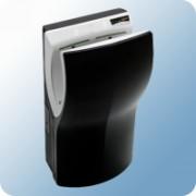 B&K Mediclinics Dualflow Plus infrás kézszárító gép, kézbedugós, fekete ABS burkolat, 420-1100W, 415km/h légsebesség