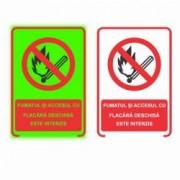 Semn Informativ Fosforescent Fumatul si Focul Deschis Interzise 20 x15 cm