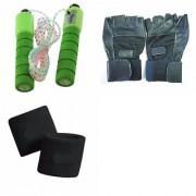SKIPPING ROPE WITH METER + GYM GLOVES WITH WRIST SUPPORT + WRIST BANDS (COMBO PACK)