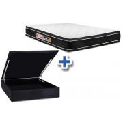 Conjunto Box Baú - Colchão Castor Espuma D33 Black e White AIR Double Face + Cama Box Baú Nobuck Black - Conjunto Box King Size - 193 x 203