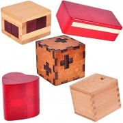 Kingou 5 Pack Wooden Secret Lock Box, The Magic Box, Brain Teaser Puzzle, Secret Opening Box Gift Container / Boxes