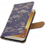Lace bookstyle / book case/ wallet case Hoes voor Samsung Galaxy J5 (2017) J530F Blauw