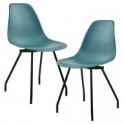 PremiumXL - [en.casa] Design stolica - set od 2 komada (tirkizna, čelične nogare)