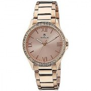 Titan Quartz Gold Dial Women Watch-9955WM01