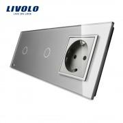 Intrerupator LIVOLO simplu+simplu cu touch si priza din sticla, gri