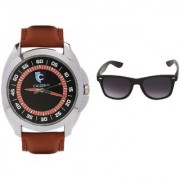 CALIBRO Men's Black-Brown watch Black Wayfarer Sunglass