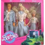 DENIM FUN BARBIE Cool City Blues 3 DOLL Set w KEN, BARBIE & SKIPPER DOLLS (1989 Mattel Hawthorne)