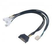 Cablu splitter PWM Akasa Flexa FP3S, de la 4-pini PWM la 3x4-pini PWM, alimentare SATA, 45cm