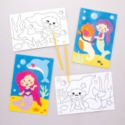 Baker Ross Mermaid Sand Art Pictures - 8 Colourful Sand Picture Kits. Sand Art For Kids. Size 19cm x 13cm.