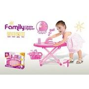 Beefun Pink Family Little Helper Ironing Playset With Ironing Board, Iron, Basket Etc