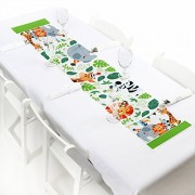 """Jungle Party Animals - Petite Safari Zoo Animal Birthday Party or Baby Shower Paper Table Runner - 12"""" x 60"""""""
