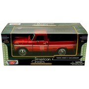 1969 Ford F-100 Pickup, Red - Motormax Premium American 79315 - 1/24 Scale Diecast Model Car