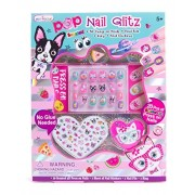 Hot Focus Pop Nail Glitz - Best Pals Nail Art Kit for Girls - 62 Piece Set Includes 3D Press on Nails, Nail Stickers, Nail File and Ring