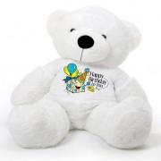 White 5 feet Big Teddy Bear wearing a Happy Birthday To You T-shirt