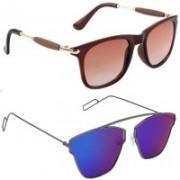 Elligator Wayfarer Sunglasses(Brown, Blue)