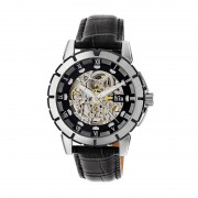 Reign Philippe Automatic Skeleton Leather-Band Watch - Silver/Black/Black REIRN4604