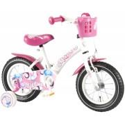Bicicleta fete 12 inch Volare Bike Giggles cu roti ajutatoare si cosulet roz