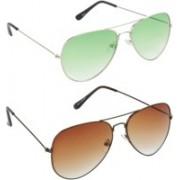 Hrinkar Aviator Sunglasses(Green, Brown)