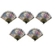 MOREL Foldable Floral Print Multicolor Hand Fan(Pack of 5)