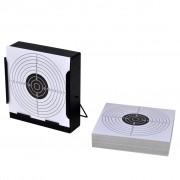 vidaXL Suport pătrat pentru tir + 100 ținte de hârtie 14 cm