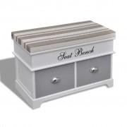 vidaXL 2 fiókos fehér tároló & előszobapad szürke párnával