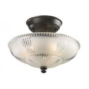 Elk 66335-3 restauración 3 luces semi empotrable, 9 pulgadas, bronce aceitado, vidrio esmerilado con detalles claros