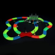 Kasuse Electronic Racing Car Dark Glow Tracks Set - Light Up Toy Car Glow in Dark Assembly Bend Flex Track for Kids Children 3 Years or Up (360 Pcs Tracks,2 Cars Blue and Red)