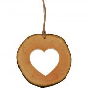 Decoratiune de craciun - Inimioara din felie de lemn New Way Decor