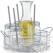 Zellers Karaf/schenkkan 1 liter met 6 mason jars in metalen houder 27 cm