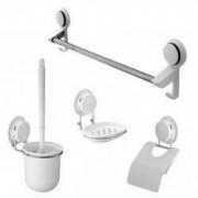 Set accesorii baie 4 piese perie wc + suport hartie igienica + suport sapun + bara prosoape cu ventuze HeavyLock