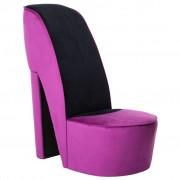 vidaXL Стол във форма на обувка на висок ток, лилав, кадифе