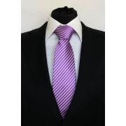 Pánská fialová klasická kravata s pruhy - 8 cm