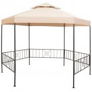 vidaXL Градинска шатра тип беседка, шестоъгълна, бежова, 323x265 см