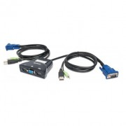 Mux KVM Mini USB 2 en 1 Manhattan con cables + audio 151245