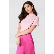 NA-KD High Neck Cap Sleeve Top - T-Shirts - Pink