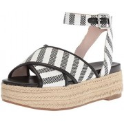 Nine West Sandalias de Tela para Mujer, Black-Off White Fabric, 5.5 B(M) US