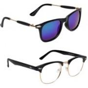 Vezel World Wayfarer, Clubmaster Sunglasses(Blue, Clear)