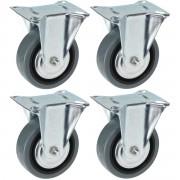 Merkloos 8x Bokwielen met montageplaat 75mm - Zwenkwielen
