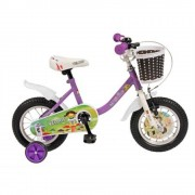 Bicicleta Fete 12 Inch Velors, Cadru Otel, Sa Confortabila, Roti Ajutatoare, Sonerie, Cos Depozitare Plastic, Culoare Mov/Alb, Varsta 2-4 Ani, V1202B