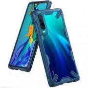 Husa Premium Ringke Fusion X Huawei P30 Transparenta Albastru