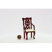 Dollhouse Miniature Mahogany Hand Carved Dining Room Arm Chair